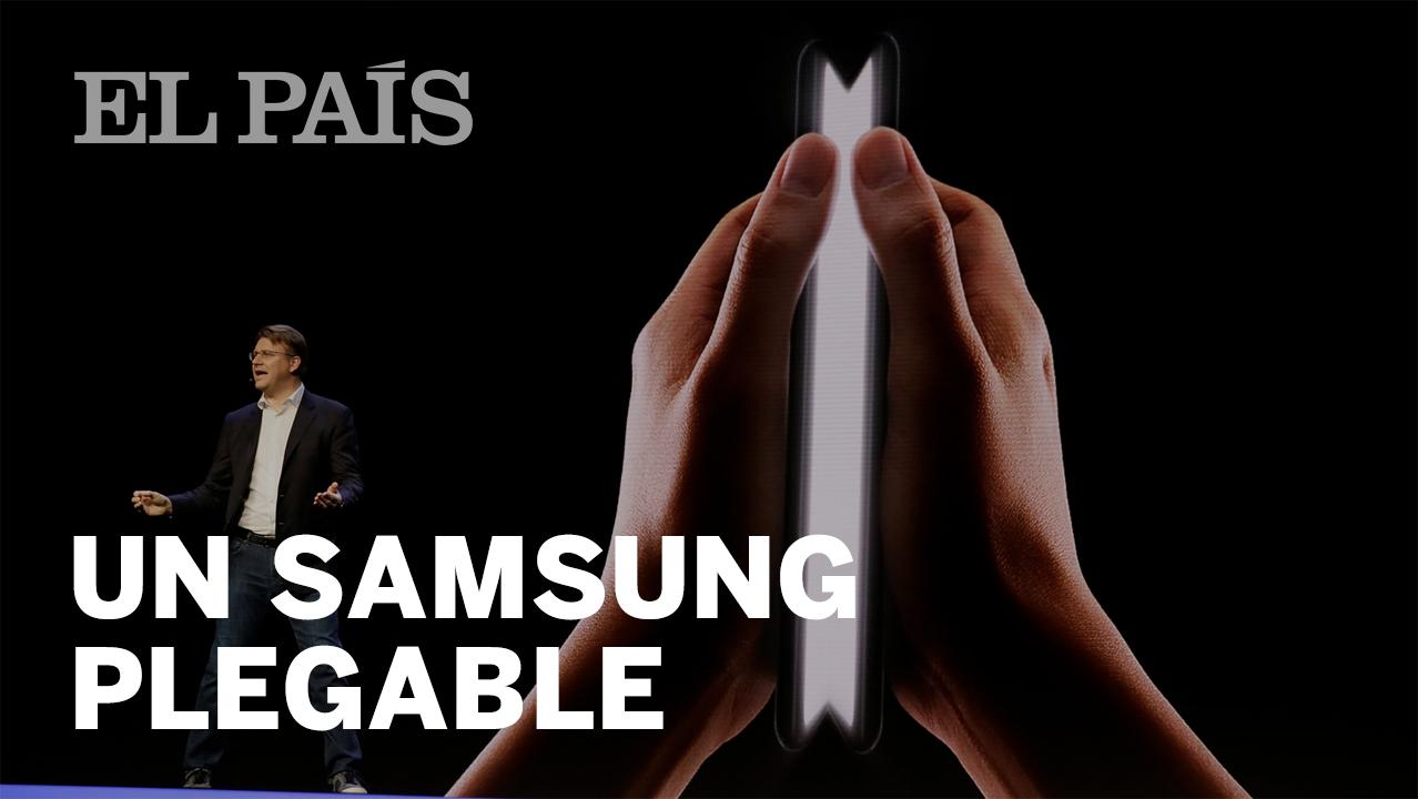 de6d1a96706c Samsung teléfono pantalla plegable  Samsung muestra  a oscuras  su móvil  con pantalla plegable
