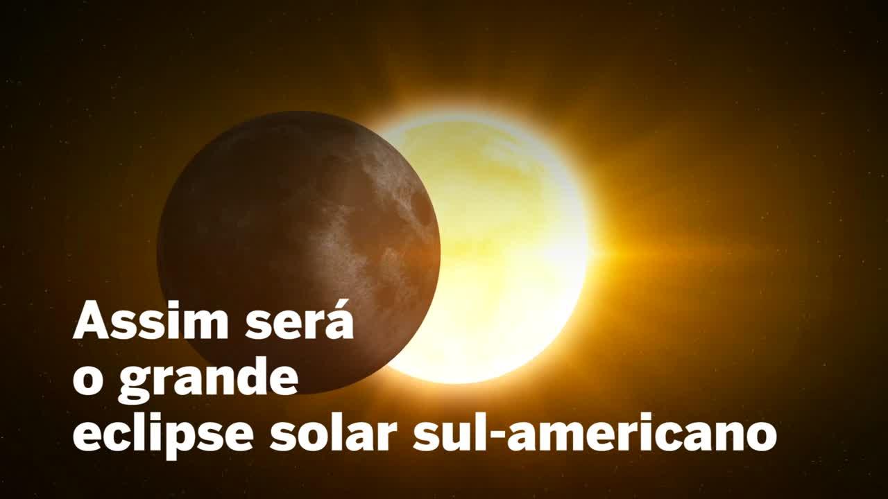 Veja como será o eclipse solar total de 2 de julho de 2019.